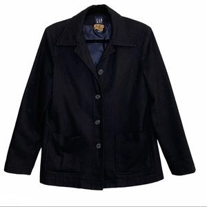 GAP| Black Recycled Wool Blend Button Front Blazer